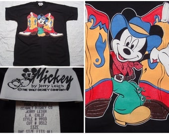 Vintage Retro Men's 90's Mickey Mouse Tee shirt Black Cowboy Boots Mickey by Jerry Leigh Disney Short Sleeve XL Made in the USA