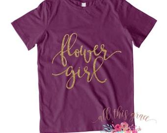 Flower Girl Shirt - Flower Girl T Shirt - Bridal Party Shirt - Gold Glitter Shirts - Pink Glitter Shirt Bridal Party Shirt