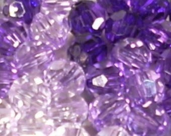 40 round faceted plastic transparent 8mm purple shades
