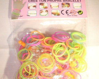 Kit colorful Bracelets neon elastic for children 6 years and +.