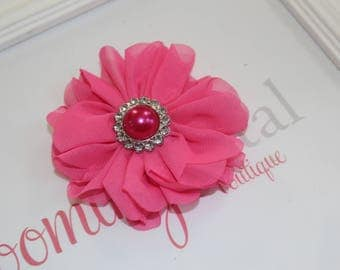 Large Chiffon Hot Pink Flower Clip with Pearl Button