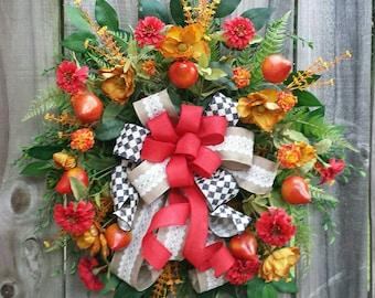 Fall door hanger, Williamsburg door hanger, MacKenzie Child inspired Design, Floral door hanger, Summer door hanger, Williamsburg wreath