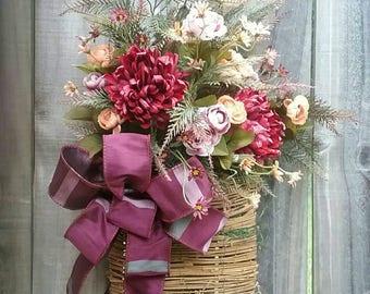 Fall Door Hanger, Fall Floral Arrangement, Fall Decor, Floral Arrangement, Fall, Cottage floral arrangement