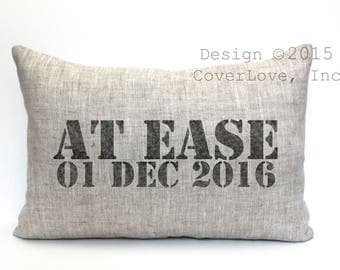 "at ease pillow, military gift, military retirement gift, navy gift, army gift, air force gift - ""At Ease"""