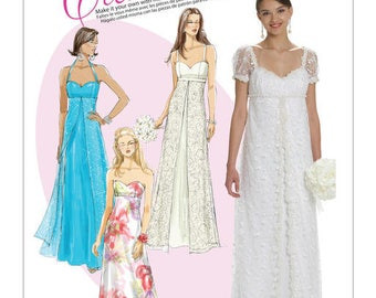 FORMAL WEDDING PROM Dress Pattern by McCall's 6030 Size 6-14 or 16-20
