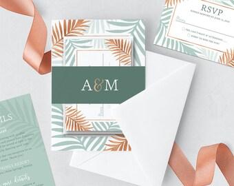 Tropical Wedding Invitation Printable // Copper and Mint Wedding, Tropical Invite // Palm Leaf Invitation Wedding Suite Printable or Printed