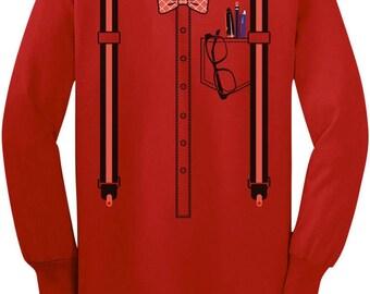 Halloween Nerd Suspenders Bowtie Geek Costume Toddler/Kids Long sleeve T-Shirt