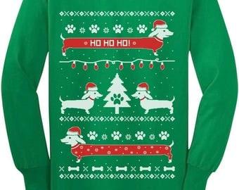 Funny Dachshund Snow Ho Ho Ho Ugly Christmas Youth Kids Long Sleeve T-Shirt