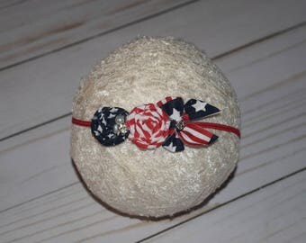 4th of july newborn headband , baby headband, flower headband, photo prop, army , memorial headband, Patriotic Headband, veterans headband