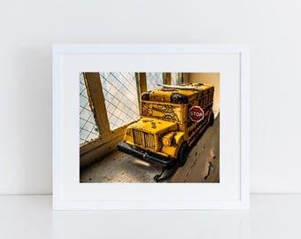 Toy School Bus - Urban Exploration - Fine Art Photography Print