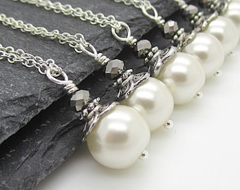 Ivory Bridal Jewellery, Pearl Wedding Necklace, Bridesmaid Jewellery Sets, Bridal Party Gift, Ivory Wedding,