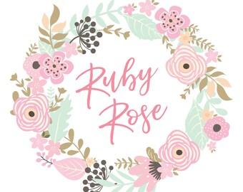 Premade Logo Design  |  Floral logo  |  Shabby Chic Logo  | Girly logo | Etsy Branding | Branding Package