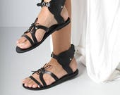 Black Leather Sandals with Black Sole, Wing Sandals, Ancient Greek Sandals, Black Wing Sandals, Handmade Women's Black Leather Sanda