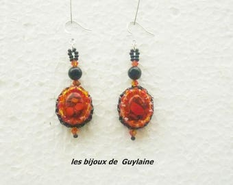 Turquoise earrings orange, crystal and agate