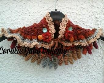 Snood crocheté main-snood marron couleurs d'automne en laine-col couleurs d'automne féerique