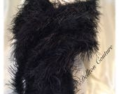 Custom for Annette Ostrich Feather Black stole wrap with 10 Mink Style Tails.
