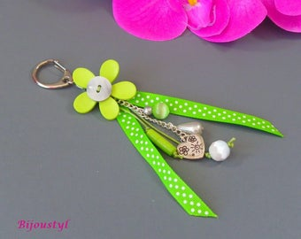 "Bag charm ""Poplin"" flower light green - light green ribbon with white dots"