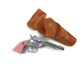 Vintage Toy Cap Gun and Holster * Cowgirl Cowboy Outfit * Western Costume * Pink Pistol