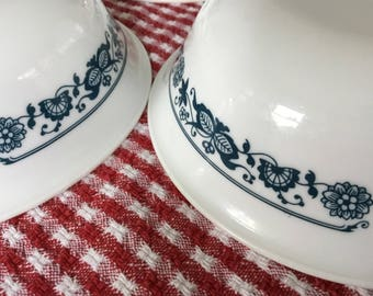 Vintage Corelle Cereal Bowls * Set of 8 *  Old Town Blue * Pyrex Compatible