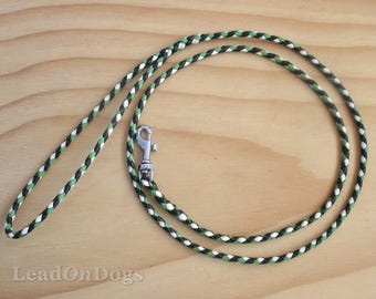 Lace Dog Show Leash Braided in Hunter Green, Apple Green & White Kangaroo Leather Lace with Small Clip - Lead On Jeddah