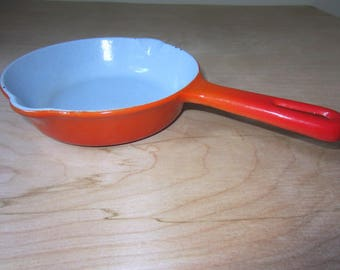 Vintage Orange Cast Iron Skillet.  Orange Flame Enameled Cast Iron Skillet. Made in Japan.