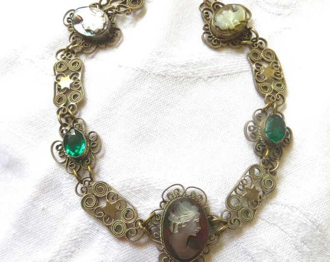 Antique Filigree Cameo Bracelet, Wirework Filigree, Shell Cameos, Emerald Glass Stones, Vintage Cameo Jewelry