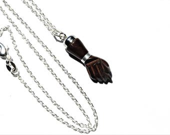 Figa Fist Necklace / Wooden Figa Hand Necklace on Sterling Silver Chain / Good Luck Necklace