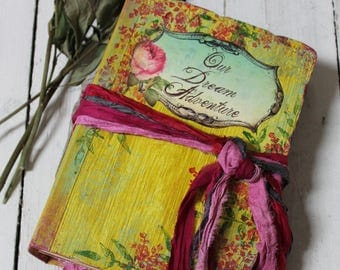 RESERVED chanlinhchi1021, Boho scrapbook with multicoloured paper, custom made  8.5x6 inches