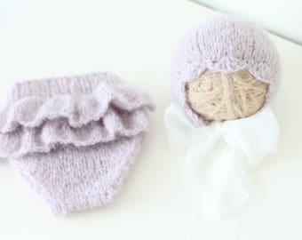 Newborn girl - Newborn props - Newborn shorts - Baby girl props - Photo props - Baby photo prop - Newborn baby photo - Lavender - Baby girl