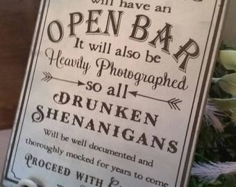 Open Bar Wedding Sign - silver engraved  Wedding Sign - Rustic Wedding Decor 12x7