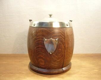 Vintage 1930s oak biscuit barrel or ice bucket with EPNS rim, lid and handle