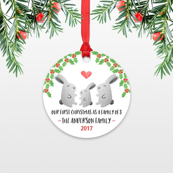 New Baby Christmas Ornament New Baby Gift Christmas Family Ornament Our First Christmas Family of Three 3 Rabbit Bunny Personalized Ornament