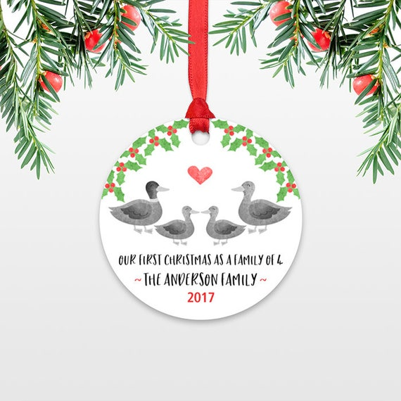 Family Christmas Ornament New Parents Gift Our First Christmas Ornament Family of 4 Four Duck New Baby Personalized Christmas Ornament