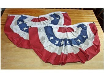 Half Round USA Flag Patriotic Bunting - 2 pieces