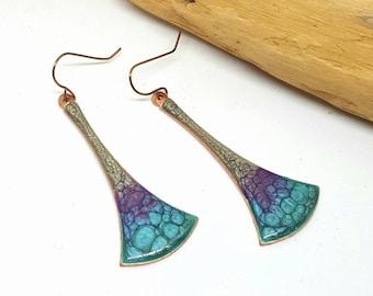 Purple Turquoise Hippie Fan Earrings - Purple Earrings - Turquoise Earrings - Hippie Earrings