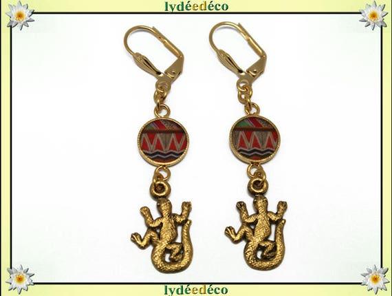 Golden brass gold 24 carat 24 salamander earrings Brown green orange k resin