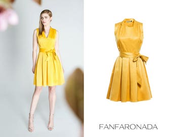 Yellow dress, v-neck dress, casual dress, dress with a bow-tie, folded dress, A-line skirt, sunny summer dress, coctail dress,