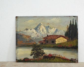 OIL LANDSCAPE PAINTING, farmhouse on the lace , snow mountains, gold painted frame, wall hanging, art artwork, antique home decor