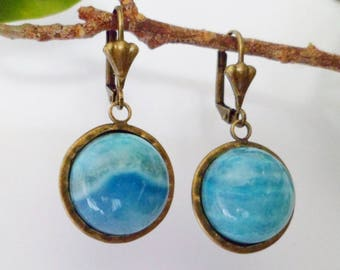 Earrings with agate crazy lace blue 2