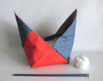 Lunch bag, Bento bag, Azuma bag, Bukuro bag, Japanese lunch bag - Navy, beige y orange - Small