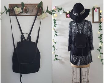 Vintage 90s Black COACH Water Proof Fabric Leather Drawstring Bucket Slouchy Backpack Hip Hop Punk Rock Grunge Festival Preppy RARE Backpack