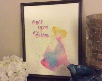 Disney Aurora Sleeping Beauty Image watercolor painting