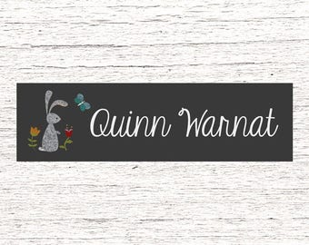 80 Skinny Personalized Waterproof Labels Dishwasher Safe Daycare or School Name Stickers Baby Bottle Labels - Best Seller - Rabbit