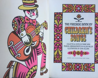 Fireside Book of Children's Songs, John Alcorn Illustrations, Pop Art, Pink Yellow, First Edition, 1966, Crafting Display, Upcycling Framing