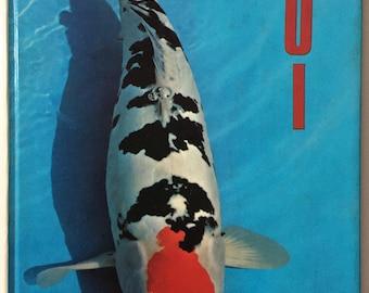 Koi, 1982 Hardcover Book, Honolulu, Hawaii, Goldfish Carp, Association, Hardcover, Aqua Red, Cover Graphics, Many Photos, Fish Enthusiast