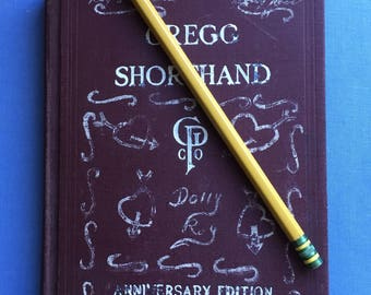 Gregg Shorthand Book, Owned by Dolly, Crush on Roy, Hearts Drawn on Cover, 1942