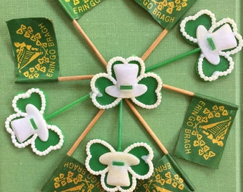 HOLD for S Vintage St Patrick's Day NOS, Bakery, March 17,  Celebration, Erin Go Bragh, Paper Flags, Plastic Shamrocks, Leprechaun Pipes