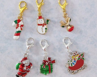 Christmas themed stitch markers and progress keepers for knitting and crochet. Buy individually or as sets