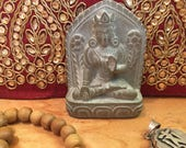 WhiteTara miniature statue, Goddess of Compassion Bodhisattva, Stone carving Meditation, Dharma art, Incense,  Buddhism, Hinduism