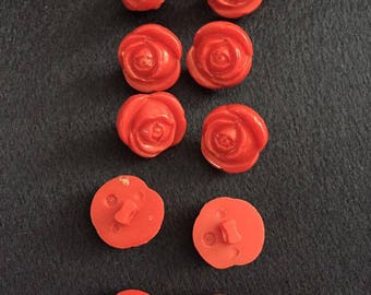 """Tiny Red Rose Bud Buttons 9/16"""" (14mm)"""